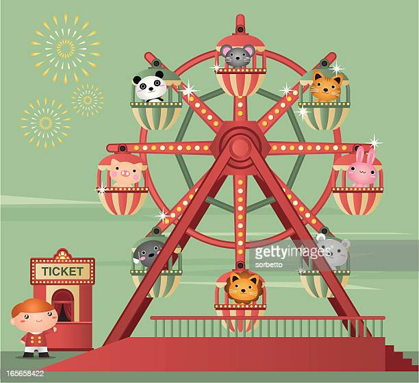 cartoon animation of zoo animals riding a ferris wheel - ferris wheel stock illustrations, clip art, cartoons, & icons