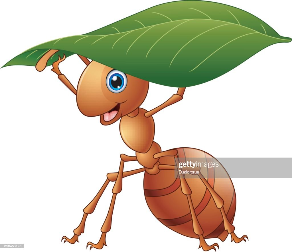Cartoon ant holding a green leaf