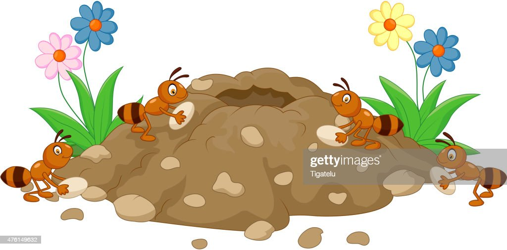 Cartoon Anthill in the forest land