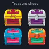 cartoon antique treasure chest in different colors