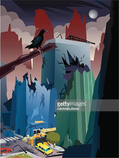 cartoon apocalypse, city destroyed - judgment day apocalypse stock illustrations, clip art, cartoons, & icons