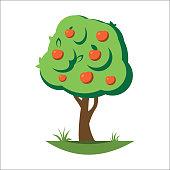 Cartoon apple tree vector illustration