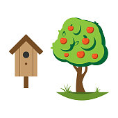 Cartoon apple tree vector illustration