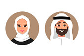 Cartoon arab man and woman avatars happy emotion.