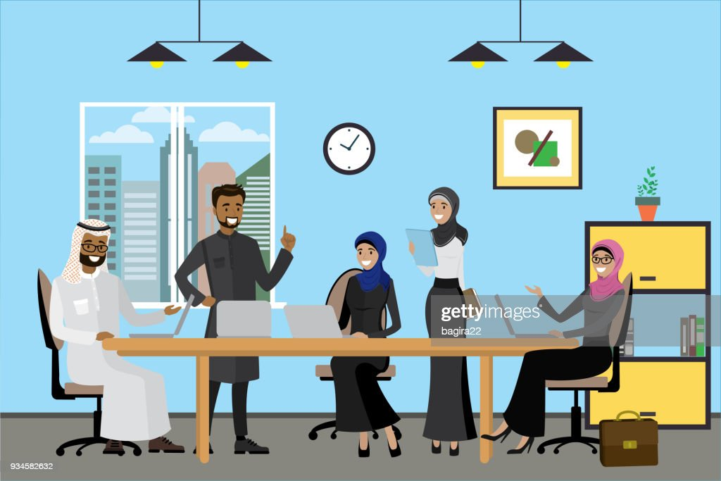 Cartoon arabic business people working at modern office