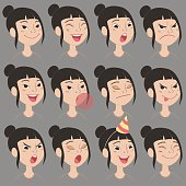 Cartoon Asian girl's emotions and expressions set.