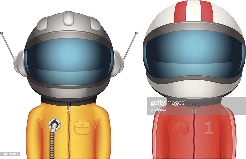 Cartoon Astronaut and Racer characters : stock illustration
