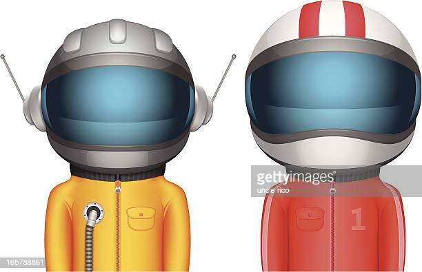 cartoon astronaut and racer characters - motorcycle helmet isolated stock illustrations, clip art, cartoons, & icons