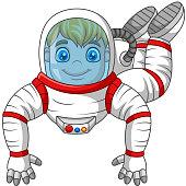 Cartoon Astronaut flying isolated on white background