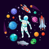 Cartoon astronaut in space. Spaceman rocket, stary ufo spaceship and planets vector illustration