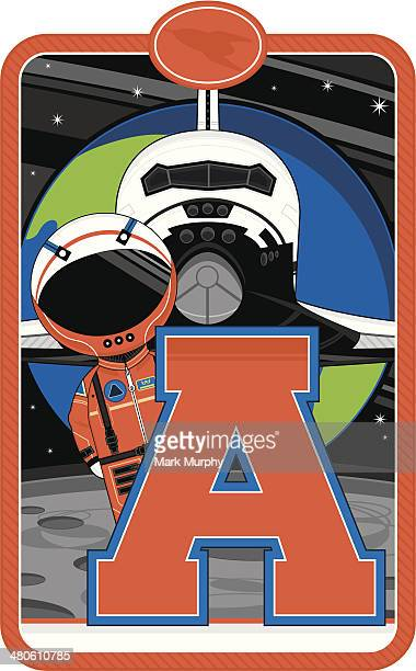 Cartoon Astronaut Learning Letter A