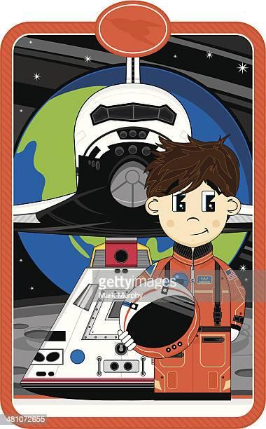 cartoon astronaut & space capsule - helmet visor stock illustrations, clip art, cartoons, & icons