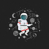 Cartoon astronaut with planets, stars, comet and constellations on a dark background. Exploration, adventure vector illustration. Poster, t-shirt design.