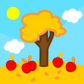 Cartoon autumn landscape with apple tree, blue sky with white clouds and yellow sun