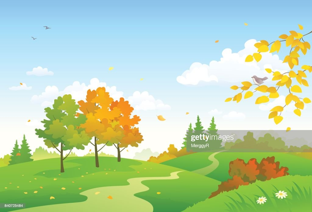 Cartoon autumn woodland