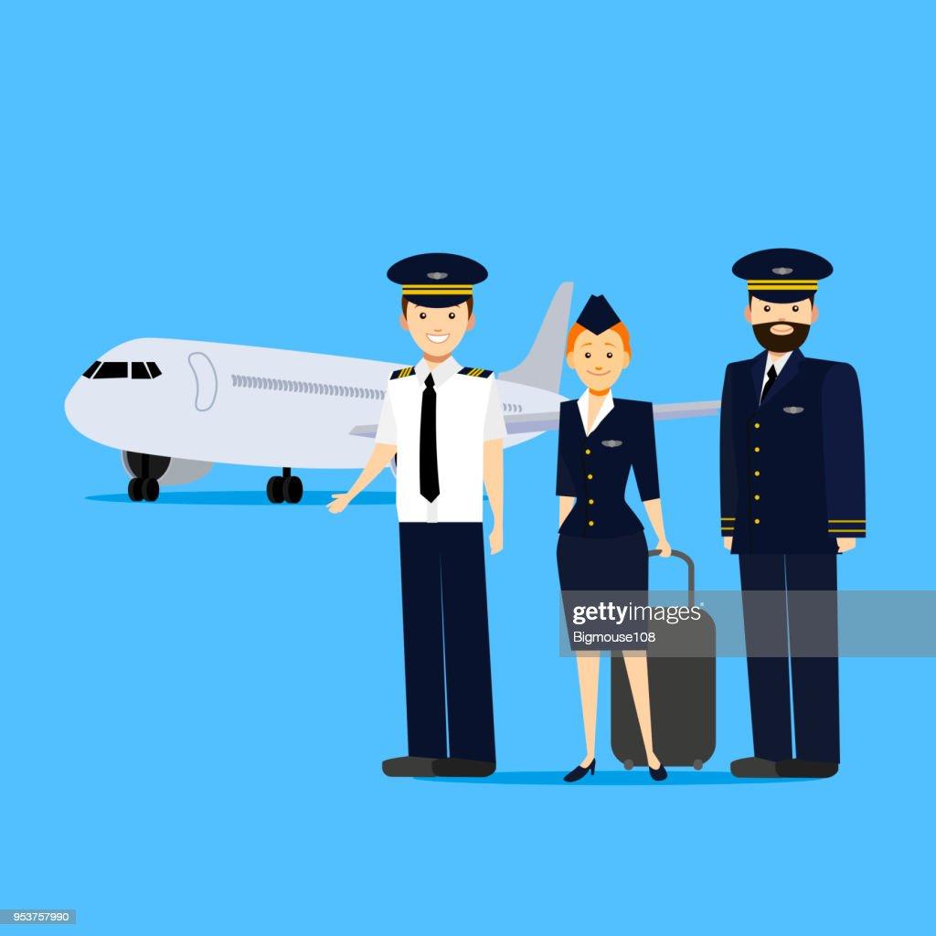 Cartoon Aviation Crew Members. Vector