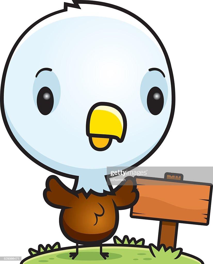 Cartoon Baby Bald Eagle Wood Sign