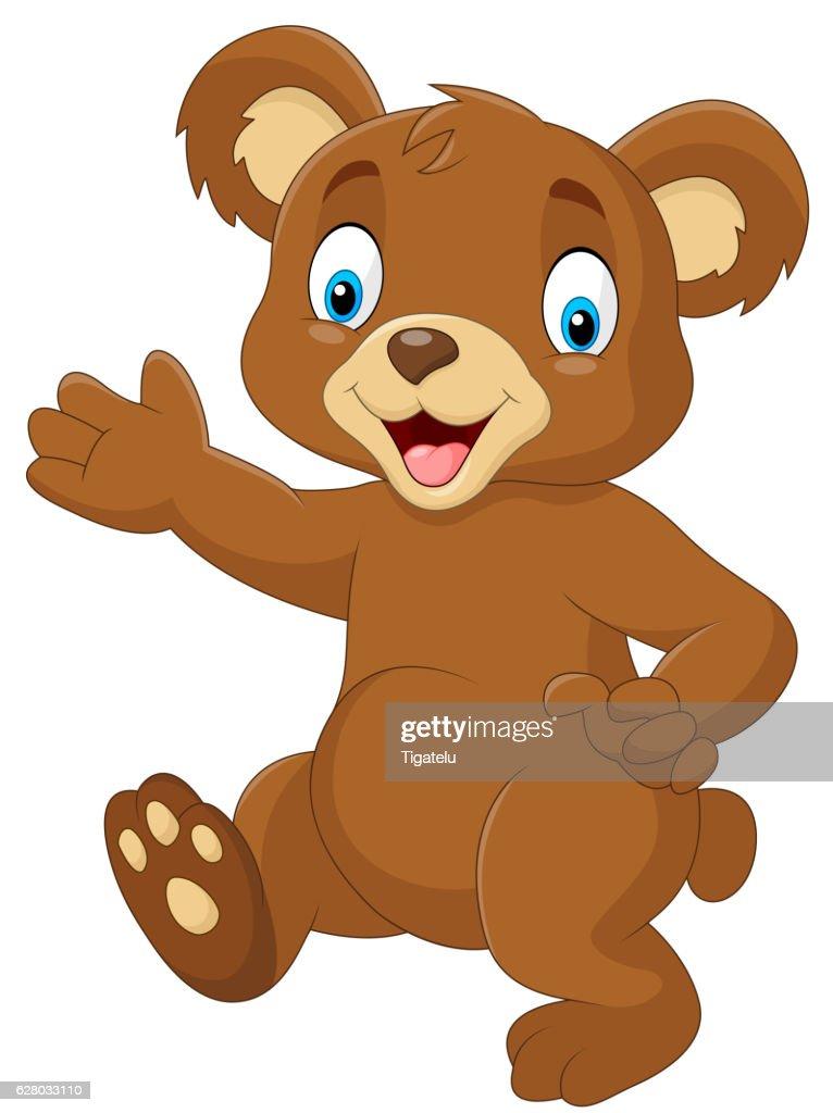 Cartoon baby bear waving hand