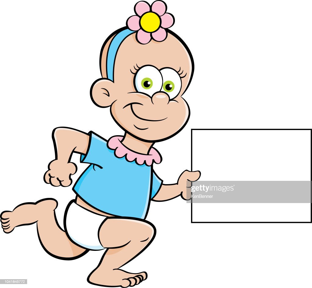 Cartoon baby girl running with a sign.