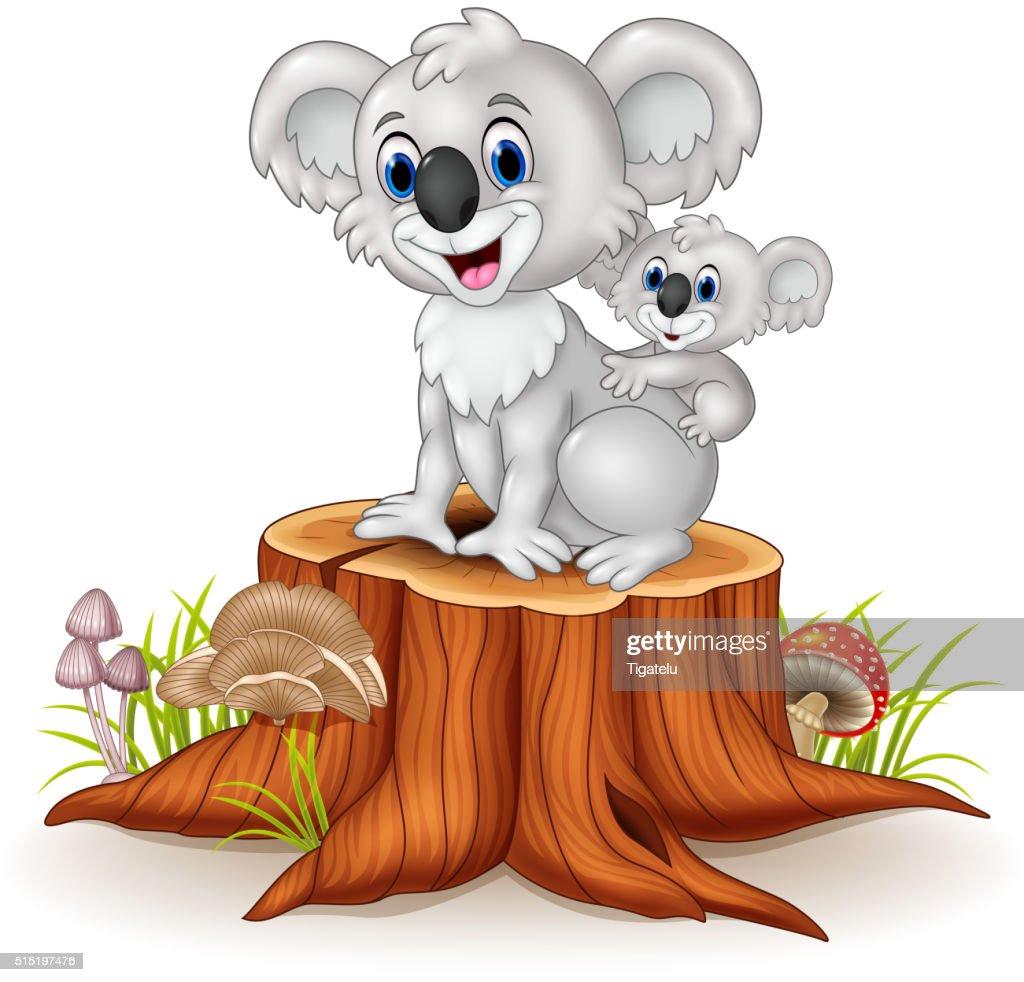 Cartoon baby Koala on Mother's Back on tree stump