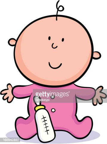 cartoon baby with a pink onesie and bottle vector art