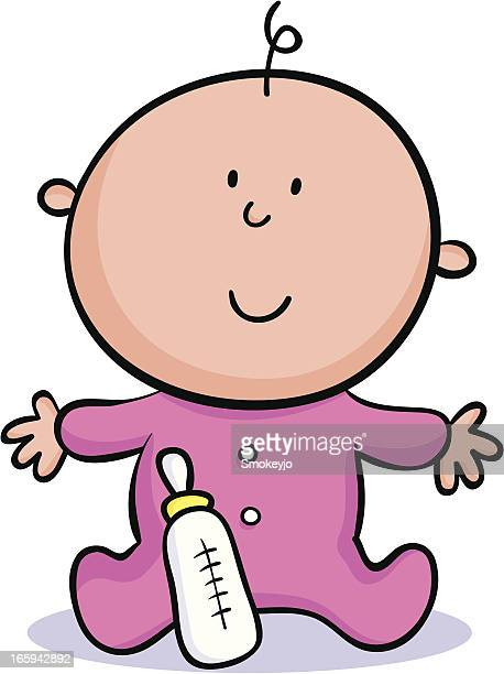 Cartoon baby with a pink onesie and bottle