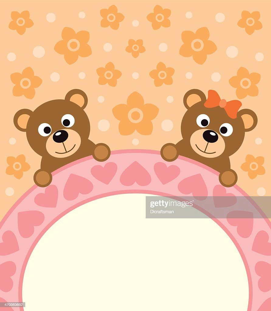 Cartoon background card with bears