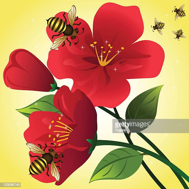 Cartoon background with red flowers and honey bees.