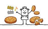 Cartoon Baker Woman selling Epiphany Cakes