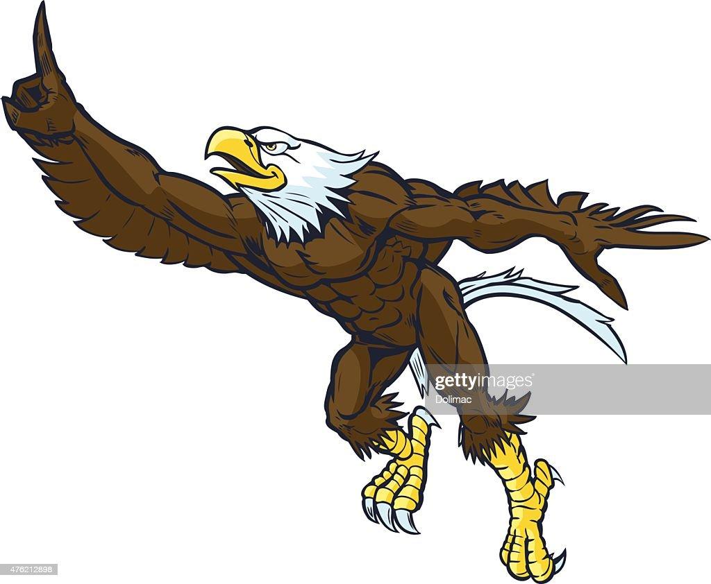 Cartoon Bald Eagle Mascot Doing Number One Gesture