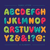 Cartoon balloon font. Colorful letters with glare