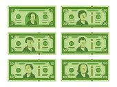 Cartoon banknote. Dollar cash, money banknotes and one hundred dollars bills stylized vector flat illustration