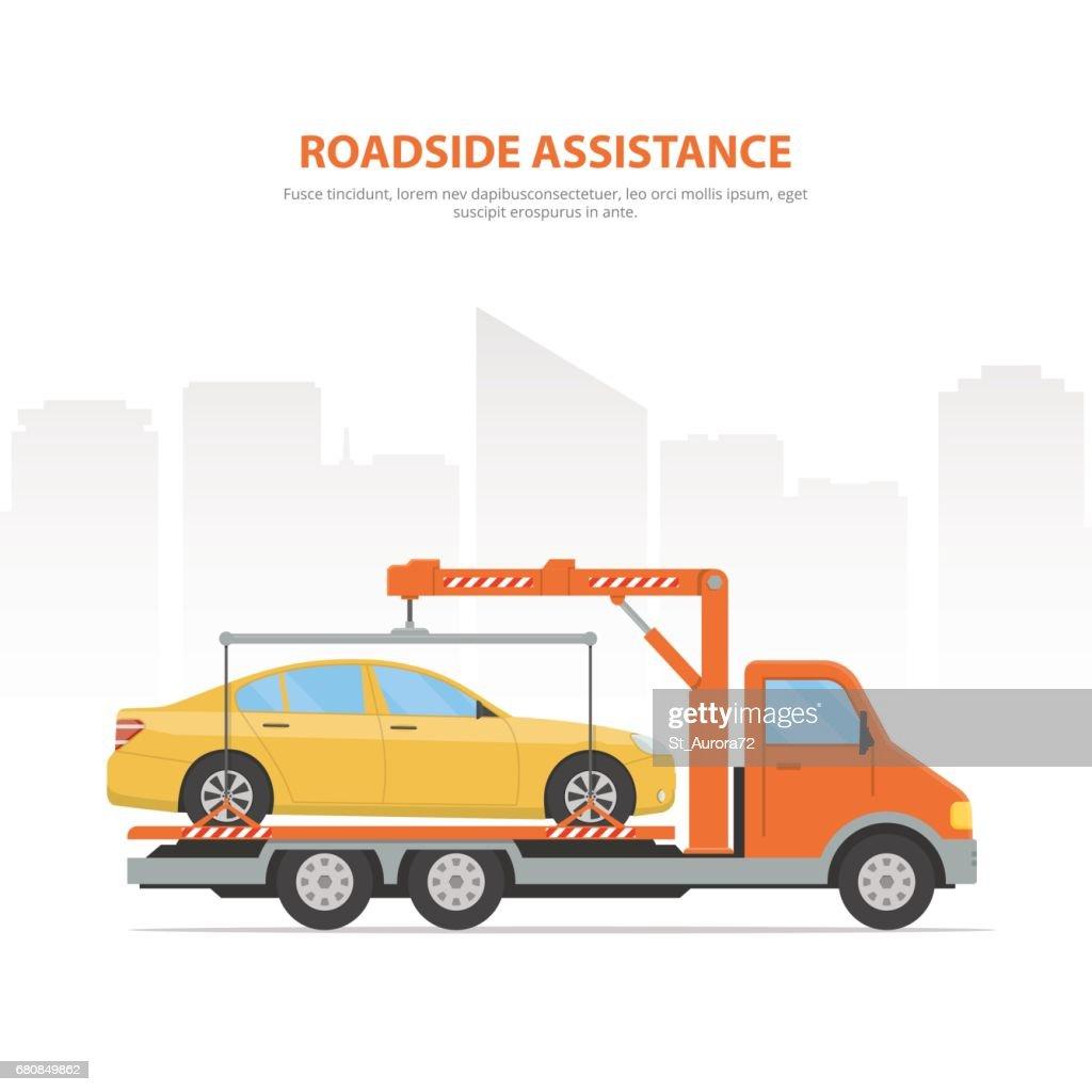 Cartoon banner roadside assistance.