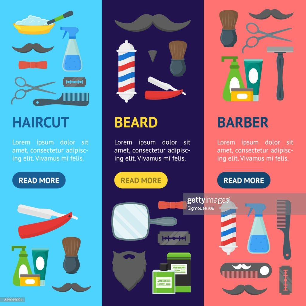 Cartoon Barbershop Shop Banner Vecrtical Set. Vector