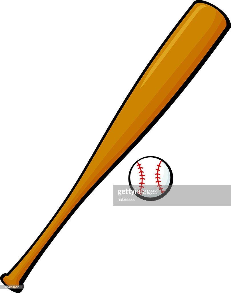 Cartoon baseball and bat illustration over white background