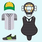 Cartoon baseball uniform player batting vector design american clothing shirt game athlete wear sport cloth
