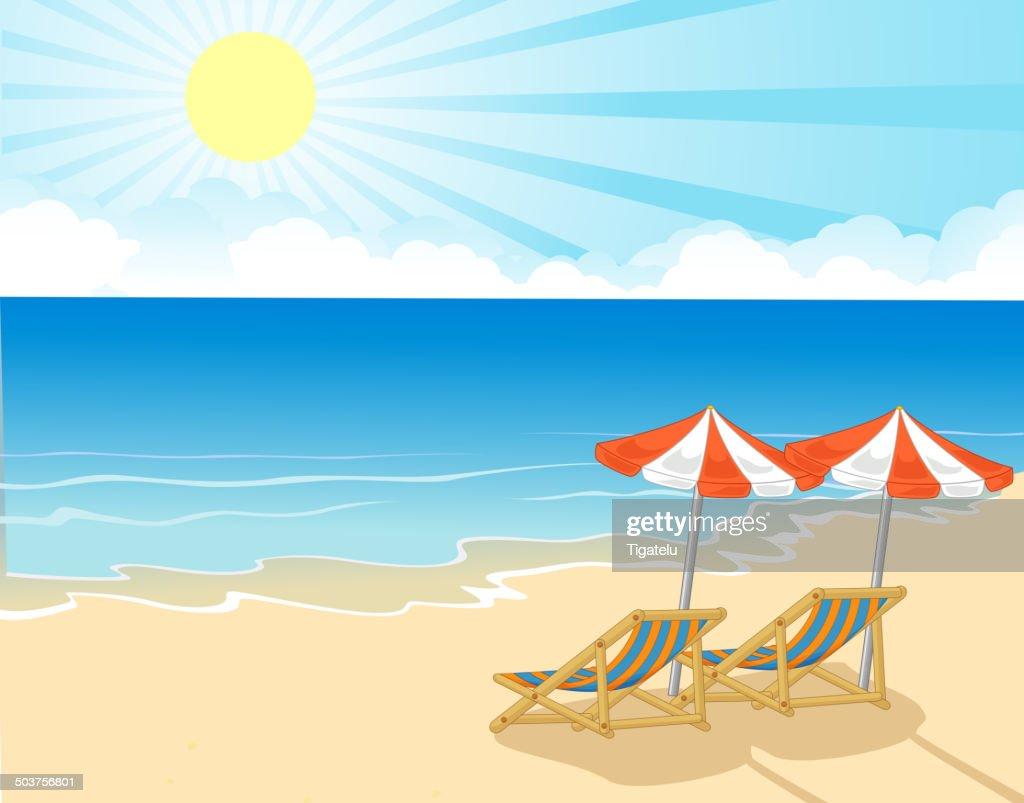 Sonnenschirm strand comic  Comic Liegestuhl Und Sonnenschirm Am Tropischen Strand Vektorgrafik ...
