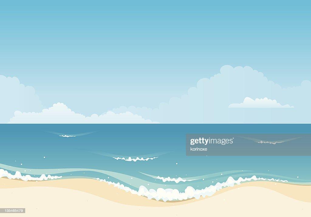 Cartoon beach illustration with waves