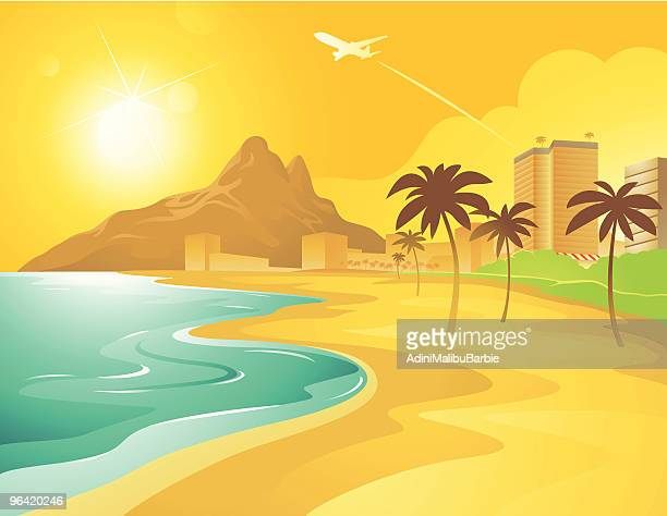 cartoon beach in brazil - beach stock illustrations