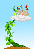 Cartoon Bean sprout with castle in the clouds