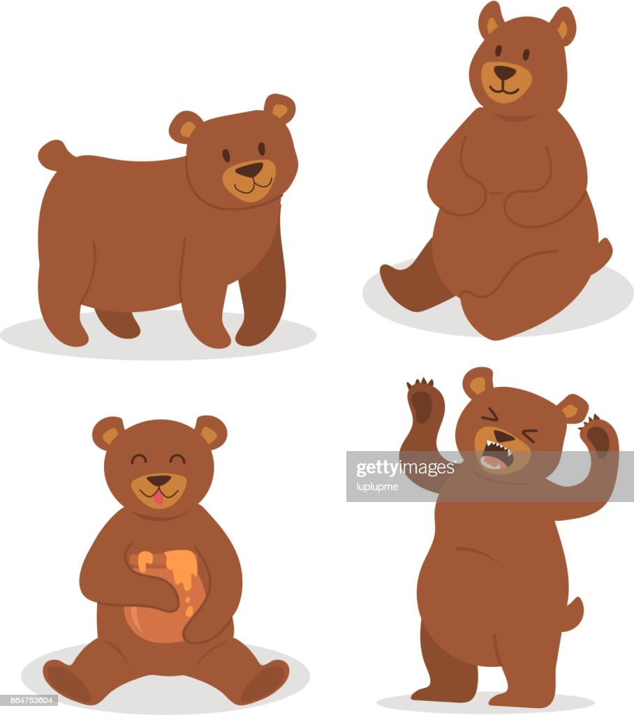 Cartoon bear character teddy pose vector set wild grizzly cute illustration adorable animal design