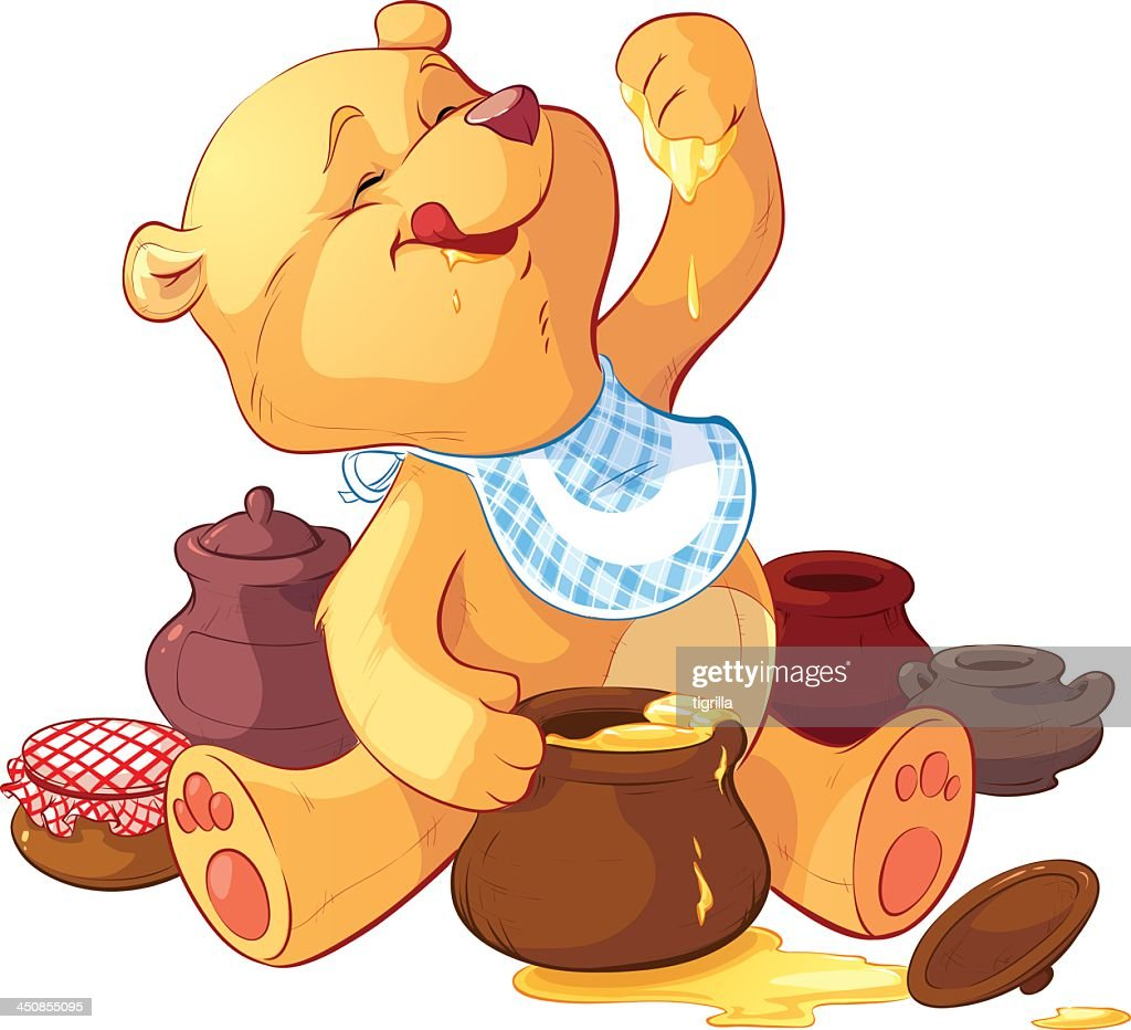 Cartoon bear wearing bib eating honey with paw from pot