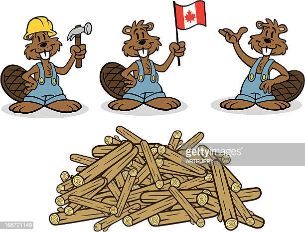 cartoon beavers with dam - funny beaver stock illustrations