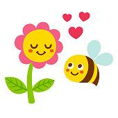 cartoon bee and flower