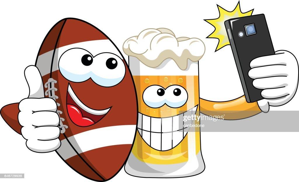 Cartoon beer american football ball taking selfie smartphone isolated