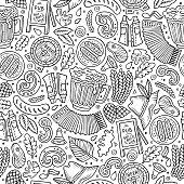Cartoon Beer fest seamless pattern