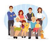 Cartoon big family