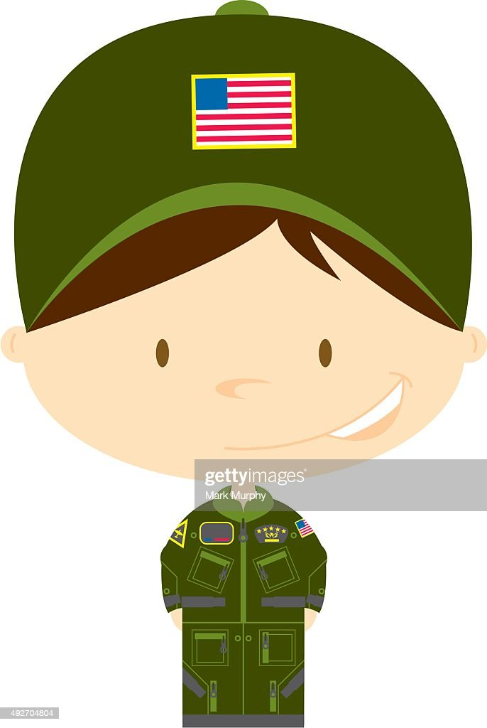 Cartoon Big Head Airforce Pilot