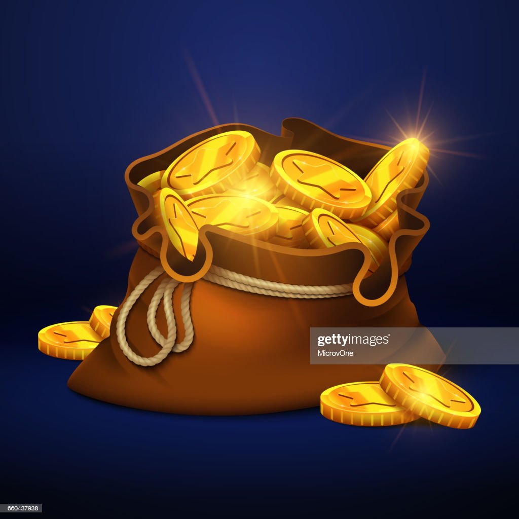 Cartoon big old bag with gold coins. Cash prize vector concept