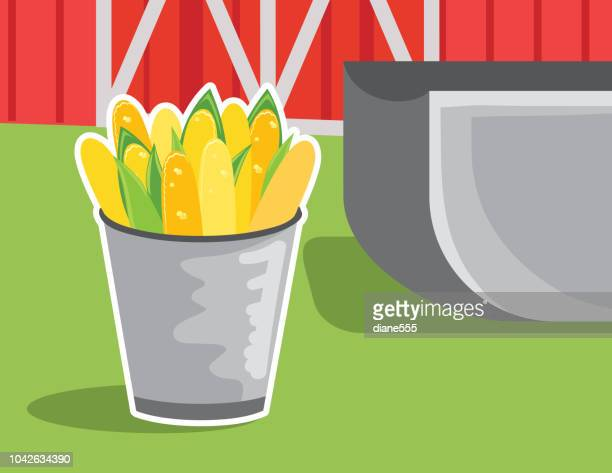 cartoon bin of corn feed by a barn - pigs trough stock illustrations